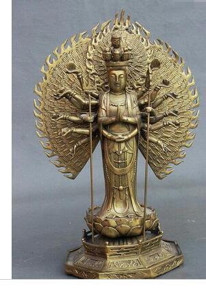 collecting OLD copper Elaborate Old 14 Tibet Brass 1000 Arms Avalokiteshvara Goddess GuanYin Kwan yin Buddha Statue