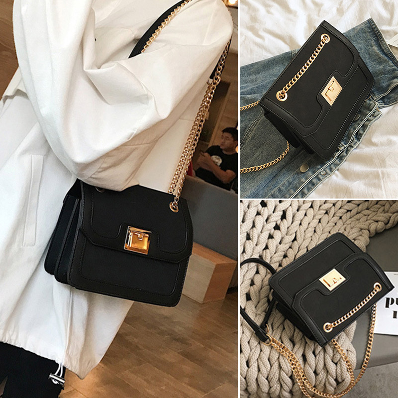 New 2019 Fashion Women shoulder Bags Casual Frosted Chain Metal Buckle Female Crossbody Bag High Quality Trend Ladies Handbag