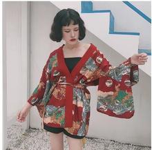 2018 new Japanese style girl sunscreen Chiffon Tops  Kimono Cardigan Feminina Women Casual Moon Print winter kimono
