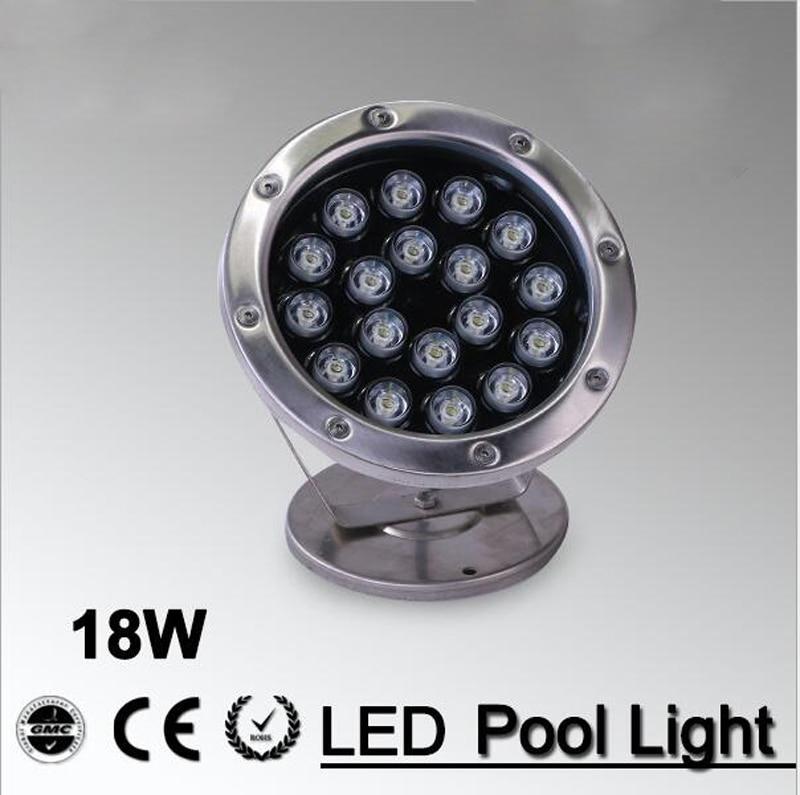 ФОТО 5pcs/lot RGB led LED Pool Light IP68 DC12V 24v  18W Stainless Steel LED Underwater Light Swimming Pool Led for Fountain