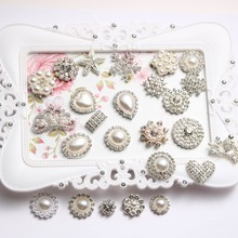 Pearl rhinestone buttons buckle flatback embellishment for Craft DIY hair bow flower 2pieces/