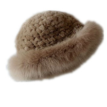 Natural fur hats of natural rex rabbit women autumn winter elegance fox trim white 9 colors warm knitted caps  H124