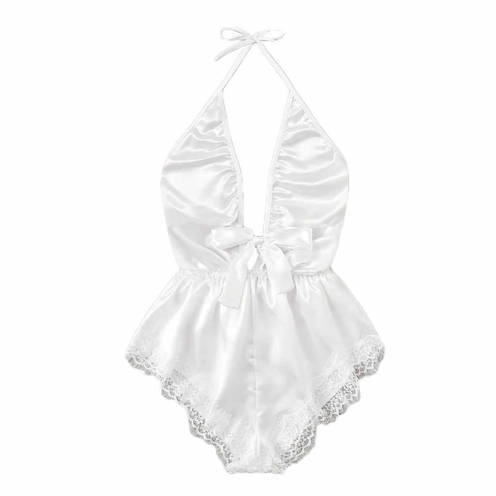 Женская одежда для сна Сексуальная атласная Pajam женская с v-образным вырезом кружевная пятнистая женское нижнее белье с бантиками комбинезон-Пижама сексуальный шелковый комбинезон s-xl четыре цвета