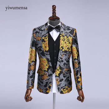 YWMS-404 costume homme Wedding Suit For man Printed Floral Black Stage Costumes Latest Coat Pant Designs mens suits with pants