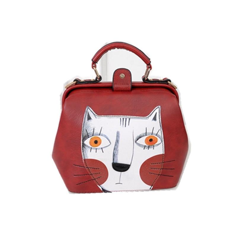 2017 Fashion women leather bag doctor bag ladies vintage cute cat messenger bag