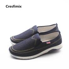 Cresfimix zapatos hombre men fashion canvas slip on shoes male plus size street stylish denim shoes man's cool comfortable shoes