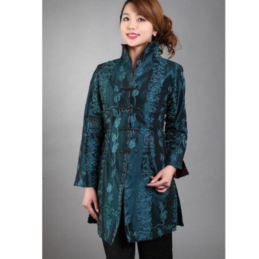 Long Jacket Coat Silk Flowers-Size Embroidery Satin Chinese XL Women's XXXL MN0112