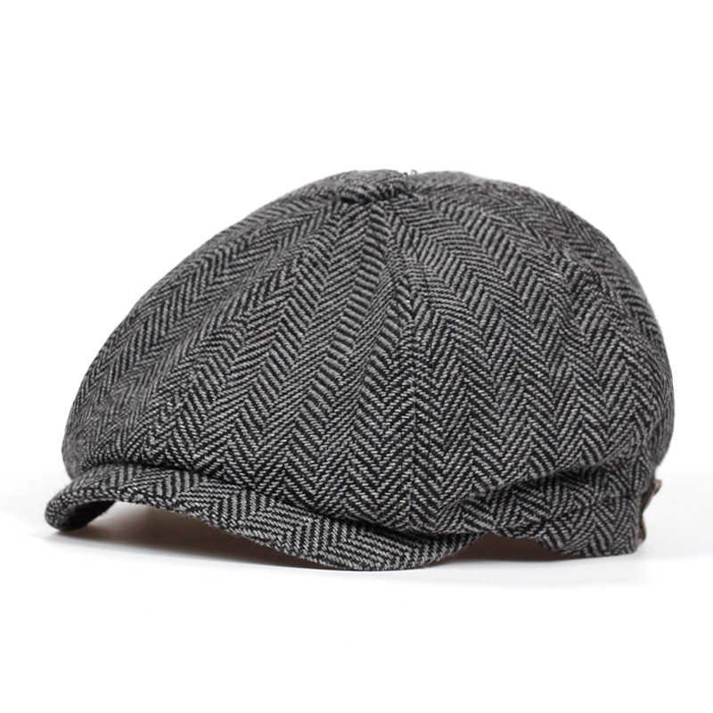 60e7a342bba ... Fashion Herringbone Tweed Gatsby Newsboy Cap Men Wool Ivy Hat Golf  Driving Flat Cabbie Flat Unisex ...
