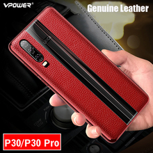 For Huawei P30 Pro Leather Case Vpower Luxury Anti knock Genuine Leather Plating Phone Back Case For Huawei P30 / P30 Pro Covers