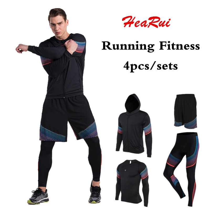 Men's Compression Running Suits Clothes Sports Set Jackets Shorts And Pants Joggers Gym Fitness Compression Tights 4pcs/Sets 2016 boys running pants soccer trainning basketball sports fitness kids thermal bodybuilding gym compression tights shirt suits page 2