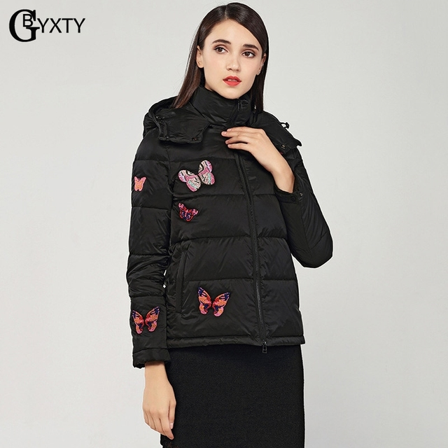 b2c46844f US $101.23 20% OFF|GBYXTY Ladies Butterfly Rivet Black Short Down Coat 2018  Winter Women Hooded White Duck Down Jacket Femme Feather Parka ZA1129-in ...