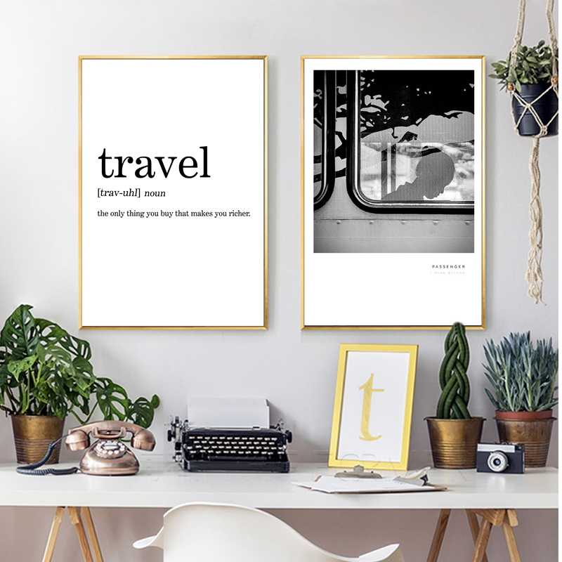 Travel Definition Canvas Painting Minimalist Black White Word Poster Print Nordic Art Wall Pictures For Living Room Scandi Decor