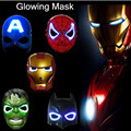Trajes de Super-heróis Batman Máscaras LED Luz Spider Man Capitão América Hulk Homem De Ferro Máscara Para Adultos Dos Miúdos Festa de Aniversário do Dia Das Bruxas