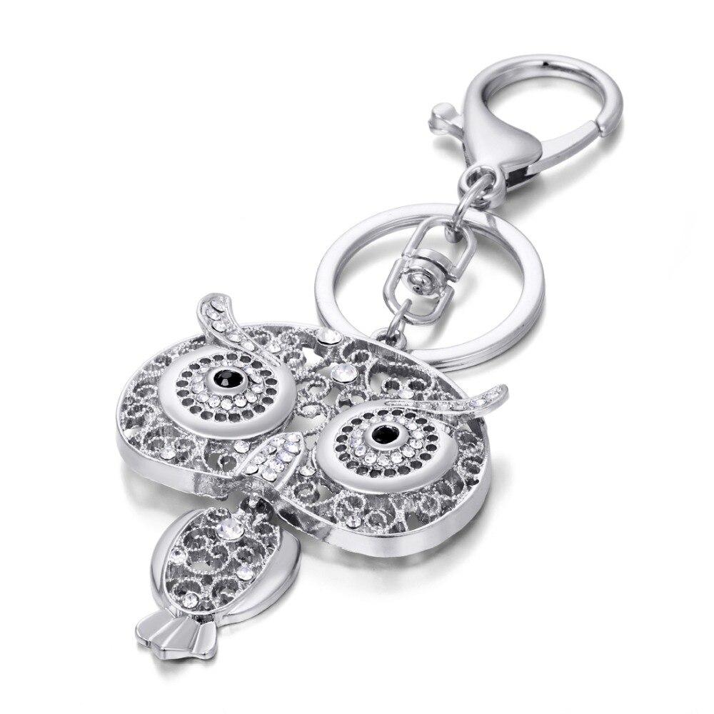 Owl Keychain Gold Silver Key Holder Metal Crystal Key