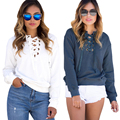 White 2017 Autumn European Fashion Lace Up T Shirt Women Sexy V Neck Hollow Out Top Casual Basic Female Long Sleeve T-shirt