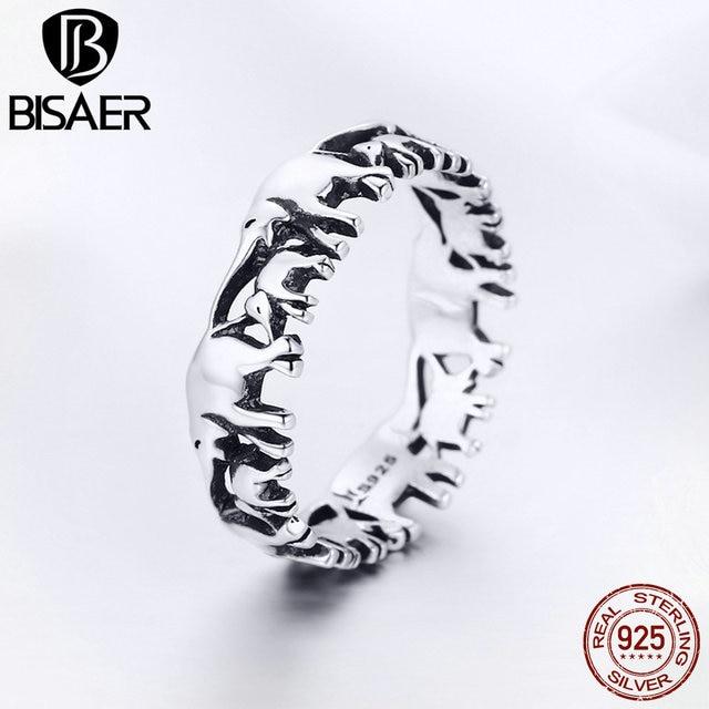 BISAER Original 2019 925 Sterling Silver Vintage Ethnic elephant Animal Stackable Women Finger Rings Vintage Silver Bague GXR344 3
