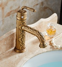 Bathroom Faucet Antique Brass Basin Faucet Deck Mounted Single Handle Single Hole Hot And Cold Water Tap znf329 frap brass antique brass bathroom faucet sink basin faucet brass single handle single hole deck basin cold