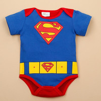 Summer Newborn Baby Clothing Cute Cartoon Pink Blue Superman Baby Boy Girl Rompers Infant Baby Ropa