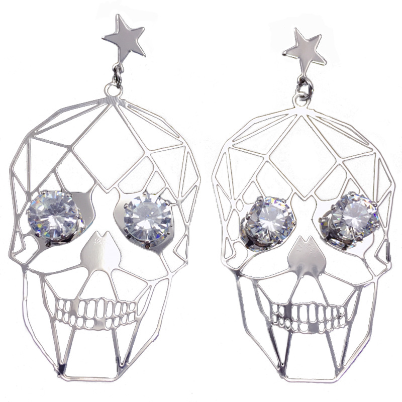 Buy Lidavi Korean Personalized Wild hip hop Retro Punk Skull Pierced Metal Earrings Rhinestone eyes For Party Jewelry Gifts Brinco for only 5.23 USD