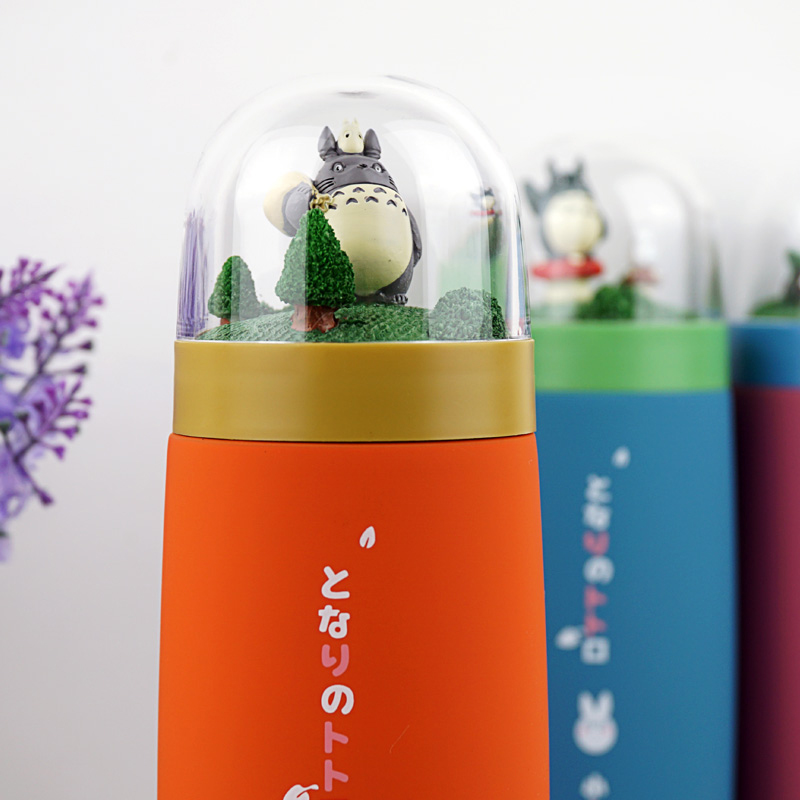 Anime Totoro Stainless Steel Cup Micro Landscape Forest 3D Cartoon My Neighbor Totoro Frosted Glass Mug Toys For Gift kuroko no basket basuke kagami anime stainless steel vacuum thermos mug cup comics cartoon