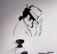Free shipping Fashion Michael Jackson Pattern With His Hat Dacing Wall Sticker The King Of Pop Wall Decals Mural Wallpaper