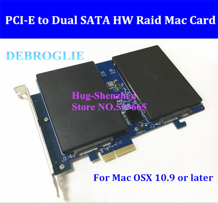 Super Speed Dual SATA III to PCI Express PCI-E 2X SSD Adapter for MAC PRO 3.1-5.1 machine Raid 0,1,SATA 3.0 card new debroglie db 2016 sata iii to pci e x1 expansion adapter card for mac pro 3 1 5 1 osx10 8 10 12