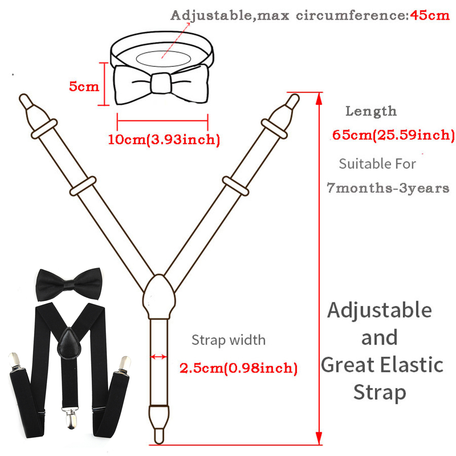 7 Months - 3 Years Khaki, 23.6 Inch Adjustable Y Shape Elastic Leather Braces Suspenders Toddler Kids Boys Baby Suspenders