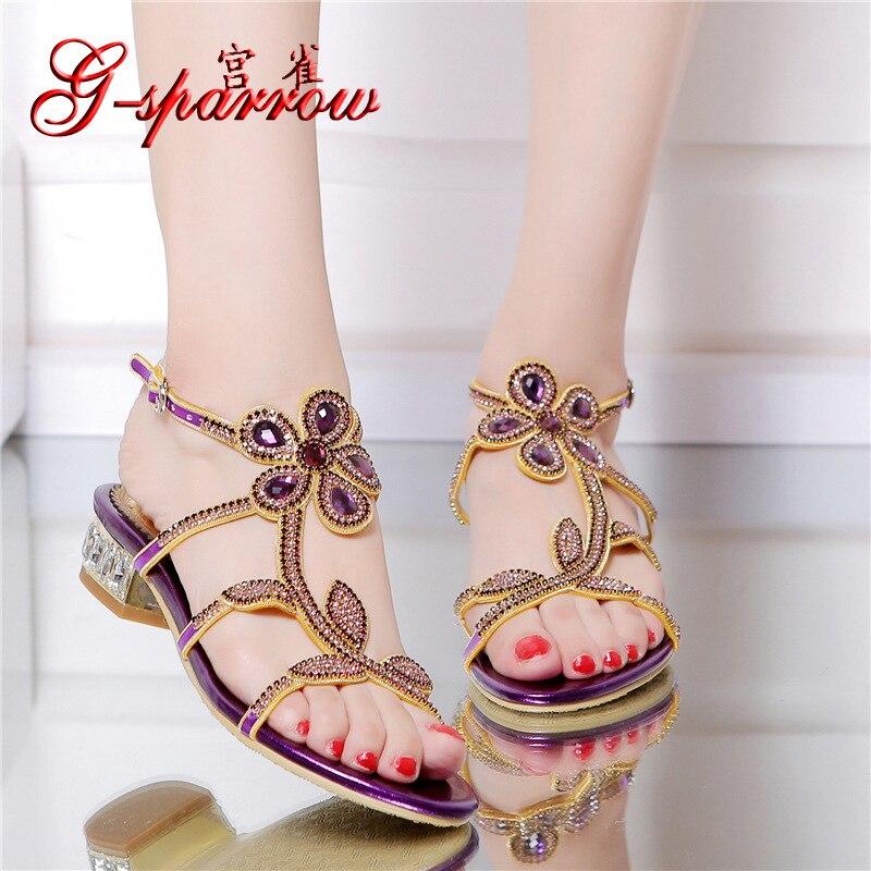 ФОТО 2016 New Elegant Casual Purple High Heel Large Size Summer Shoes Prom Diamond Flat Sandals For Wedding Dress