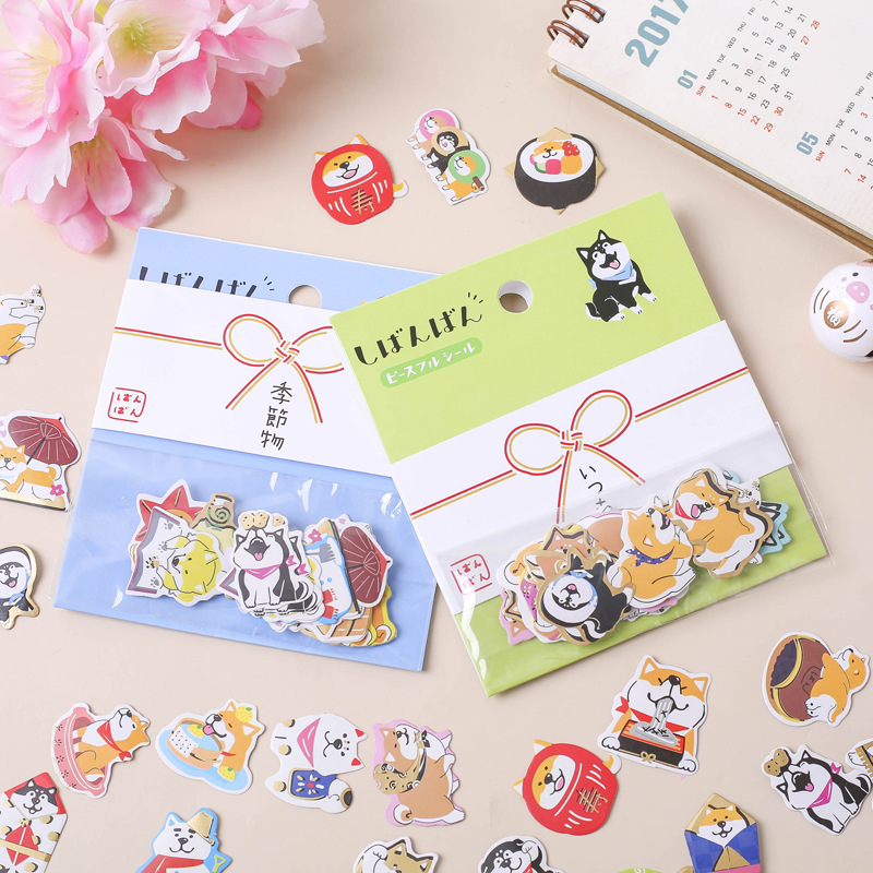 Kawaii Japanese Akita Dog Bullet Journal Decorative Washi Stickers Scrapbooking Stick Label Diary Cute Stationery Album Stickers