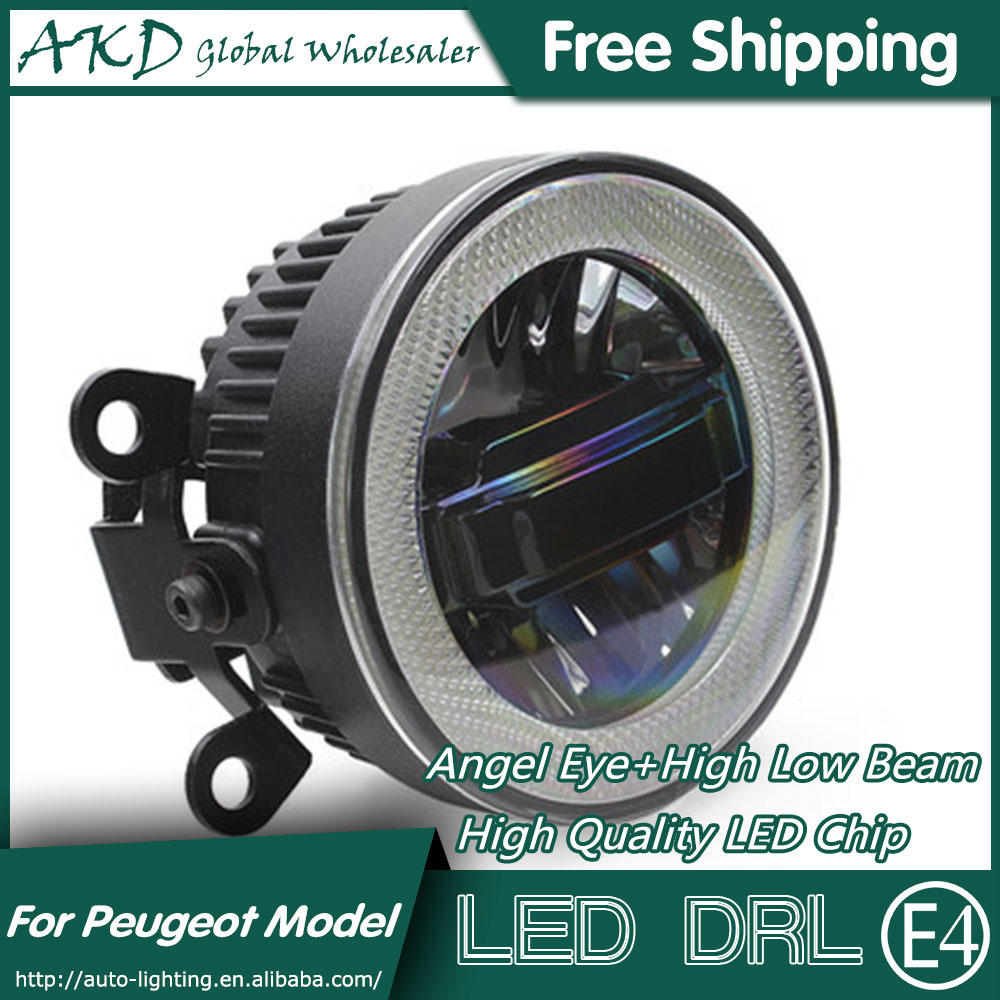 AKD Car Styling Angel Eye Fog Lamp for Peugeot 2008 LED DRL Daytime Running Light High Low Beam Fog Automobile Accessories цена 2017