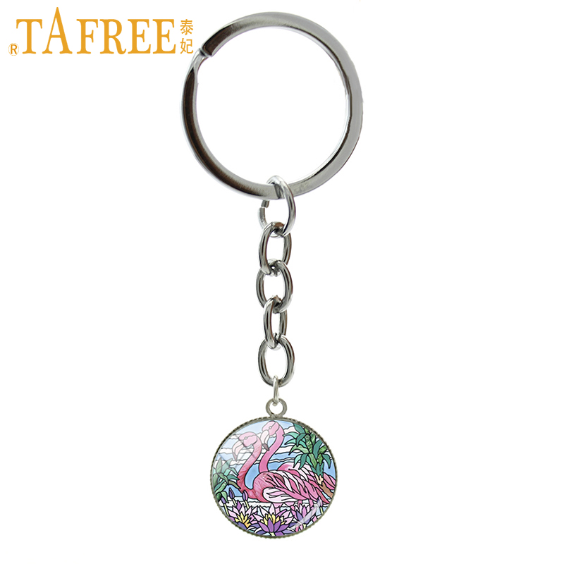 TAFREE New Arrival Friendship Jewelry Fashion keychain two beautiful flamingo art picture pendant ring gift for boy girl NS443