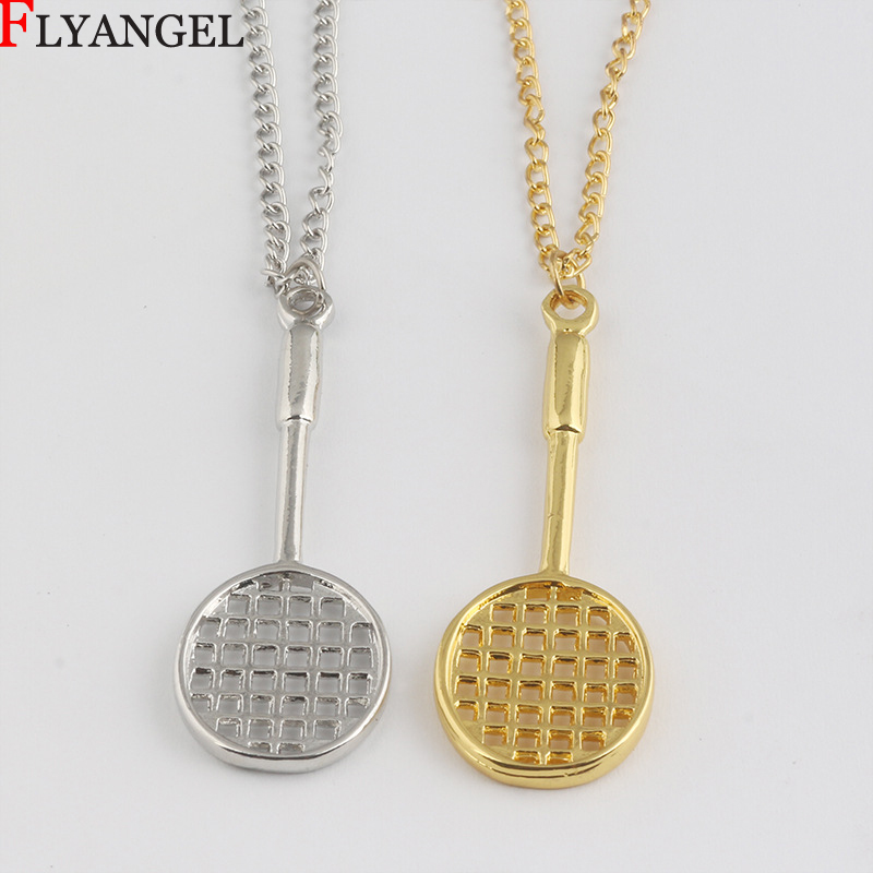 Fitness Alloy Jewelry Mini Badminton Racket Pendant Men Friends Women Sports Accessories Bodybuilding Gift Pendant Necklace