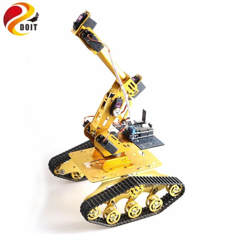 Châssis de réservoir TS300 RC avec bras de Robot 7 DOF pour projet éducatif Arduino bricolage