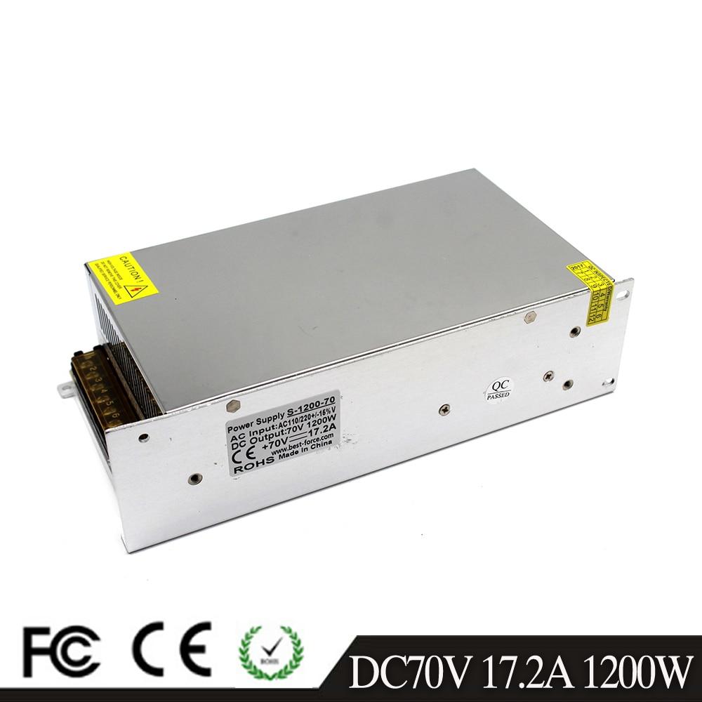 Single Output 1200W 70V 17 2A Switching Power Supply Transformer 110V 220V AC TO DC70V SMPS