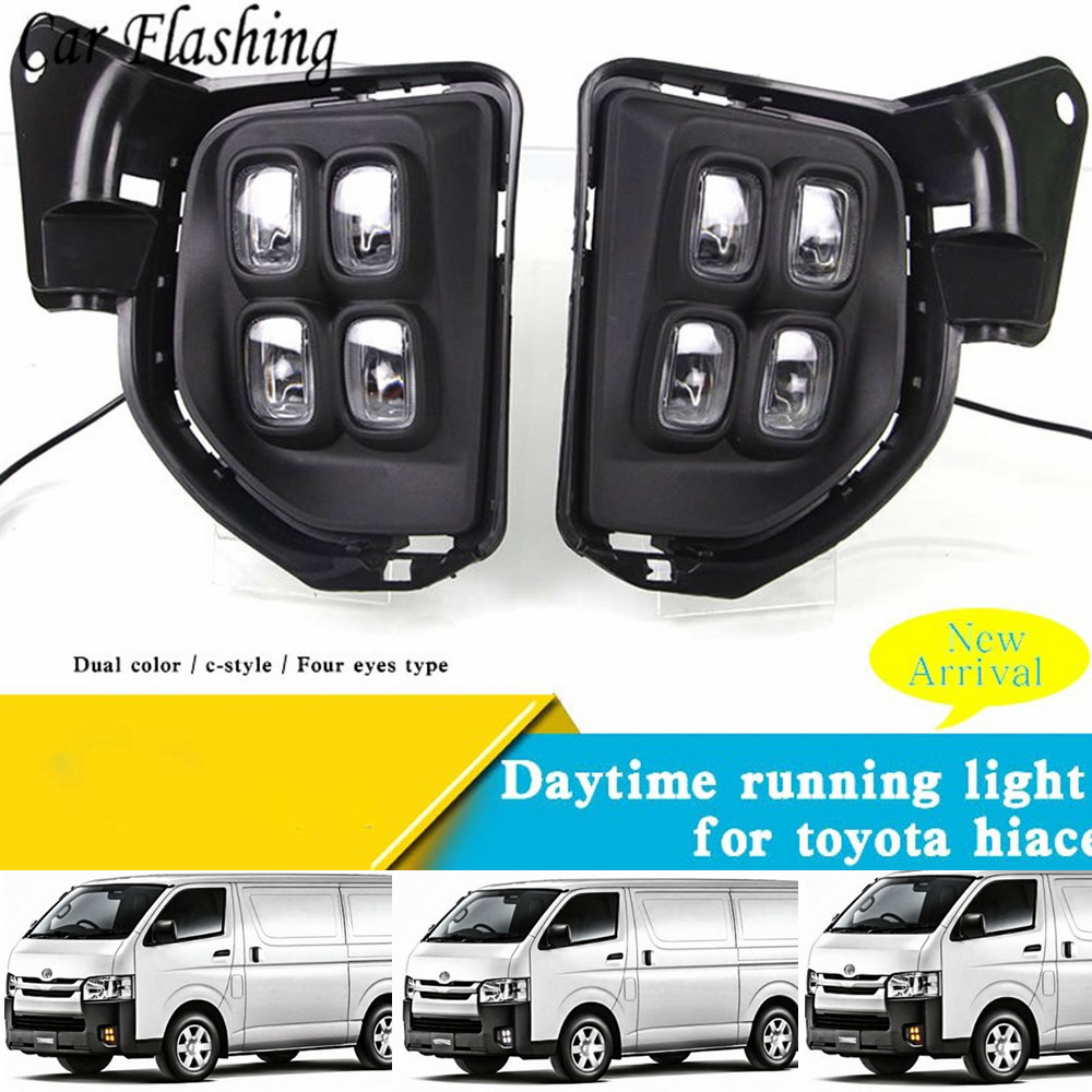 Wholesale car styling 1set For Toyota Hiace 2016 2017 2018 LED DRL Daytime driving Running Lights