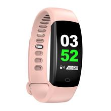 F64HR Multi-function Colorful Screen Bracelet Real-time Heart Rate Monitor Pedometer Sports Unisex Intelligent Braclet(China)