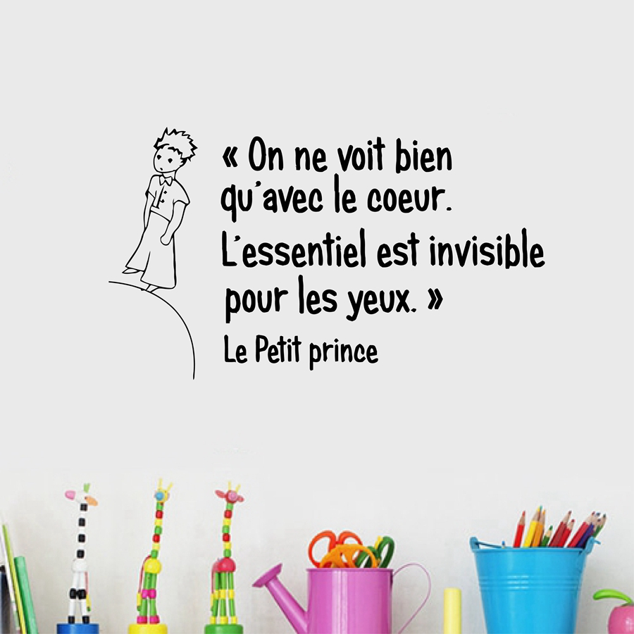 French The Little Prince Quotes Vinyl Wall Sticker Children Boys Room Bedroom Prince Wall Art Mural Decals Decor In Wall Stickers From Home Garden On
