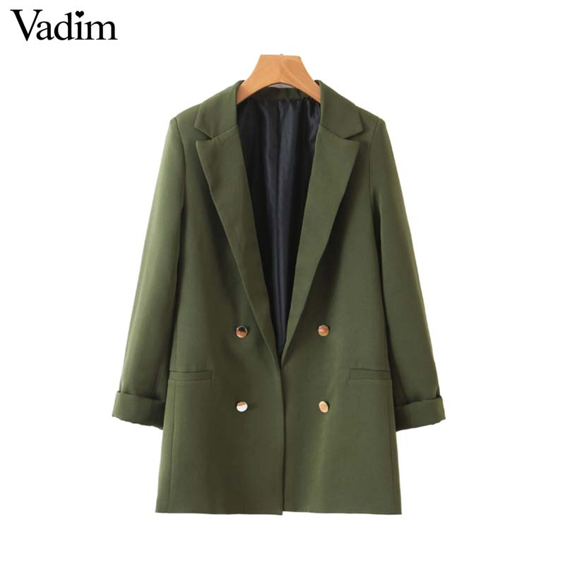 Vadim Blazer Coat Decorate Button Pockets Work-Wear Back-Split Female Army-Green Stylish title=