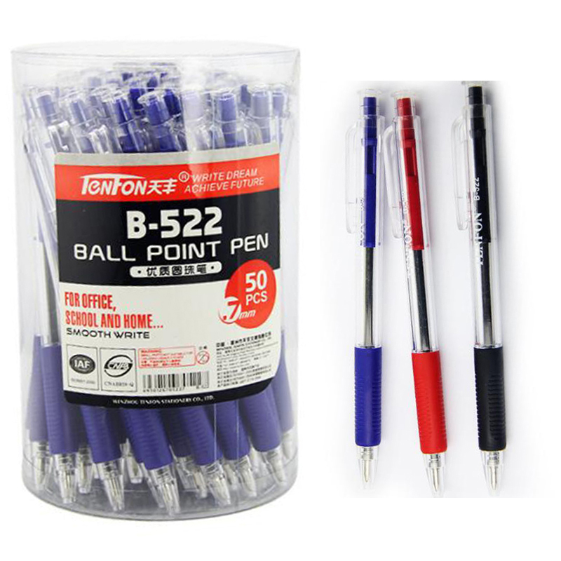50Pcs/box Black Red Blue ink Transparent Plastic Ballpoint Pen Writing Ball Pens School Office Stationery Supplies 0.7mm