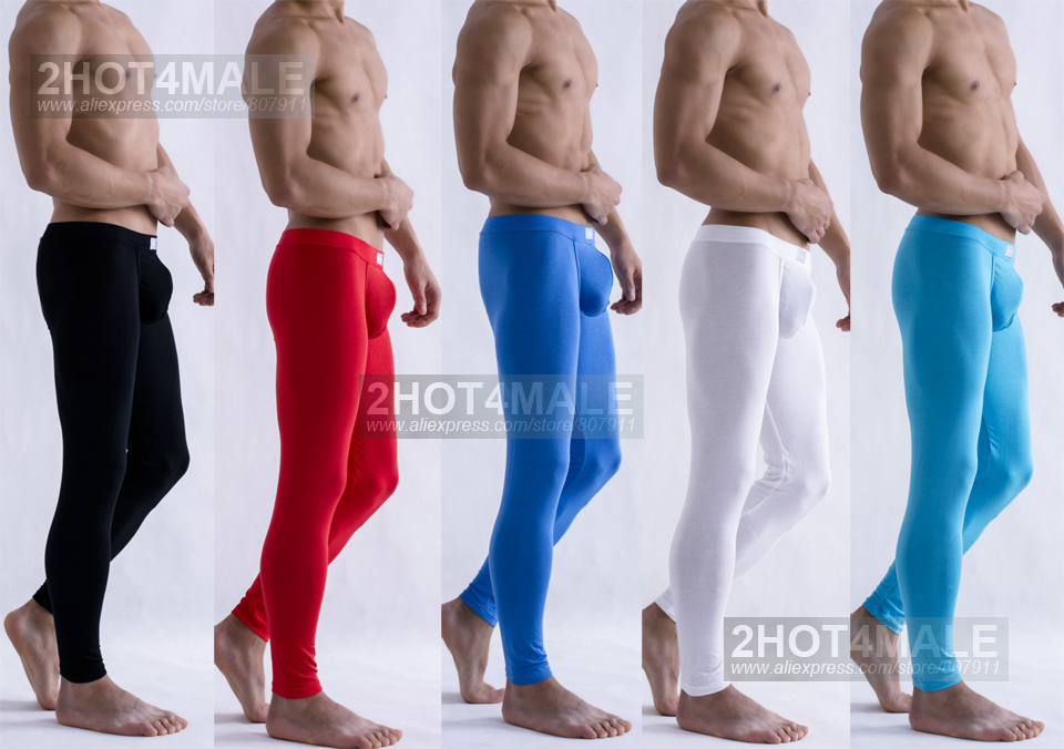 Long Johns Pants Underwear Fabric W/contoured-Pouch Ultra-Thin Tights Male Modal Sexy title=