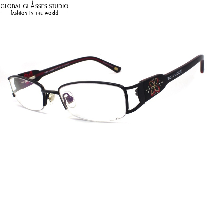 571809e3eb2c3 Lente Oval Metade Aro Óculos de Armação de Metal Sem Chifres Templo Grande  Teste Padrão do Trevo Das Mulheres De Luxo Strass Decoração Eyewear  RM00460-C1