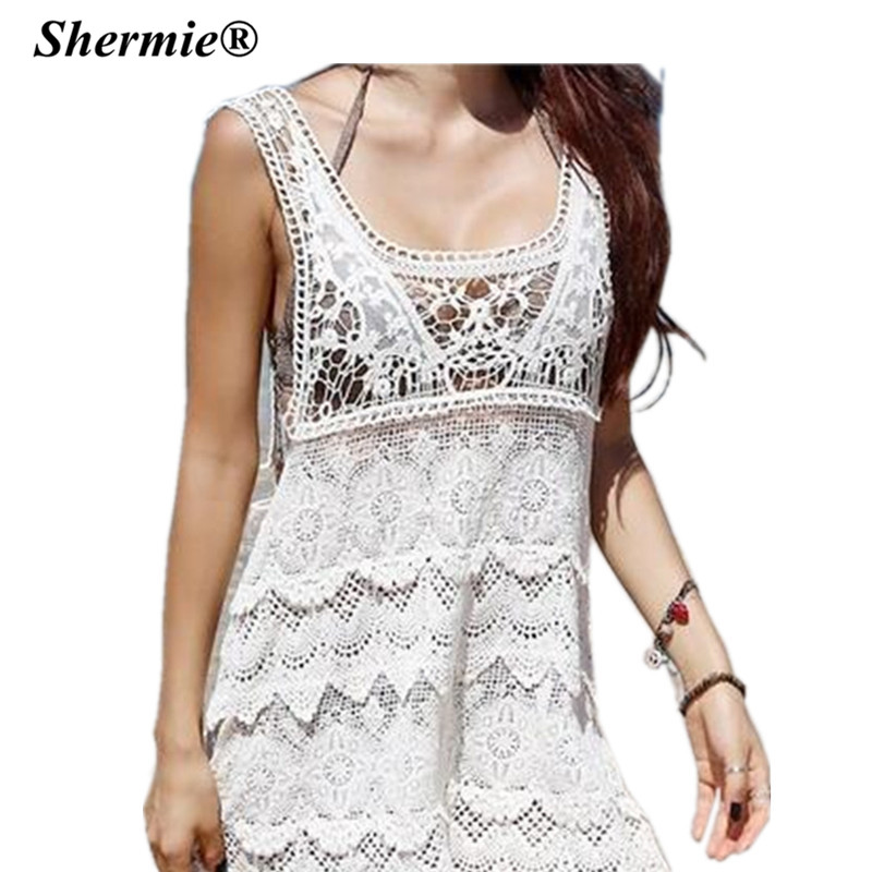 shermie sexy robe de plage bathing suit cover ups swimwear women white crochet beach dress tunic. Black Bedroom Furniture Sets. Home Design Ideas