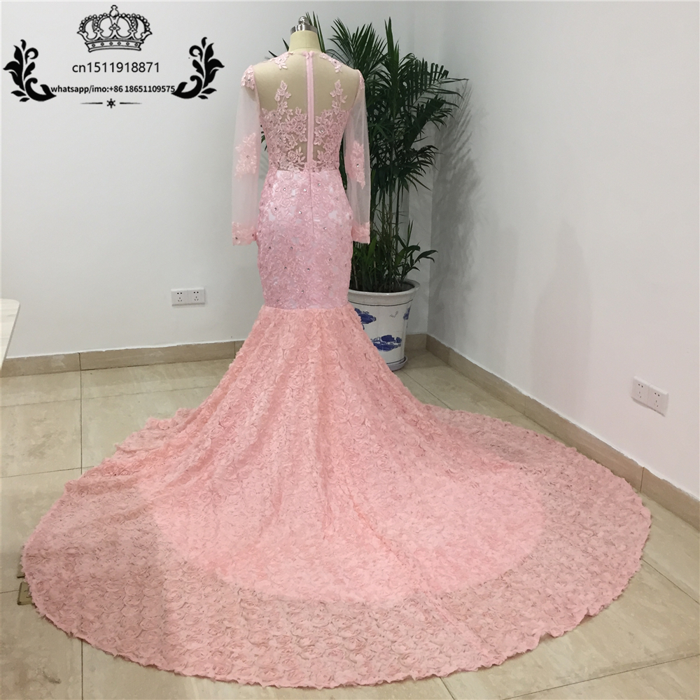 c63e8f7deb04 2017 Sexy Black Lace Appliques Prom Dresses Black Girl Sheer Mermaid Long  Sleeves Illusion Style Court Train Evening Party Gowns