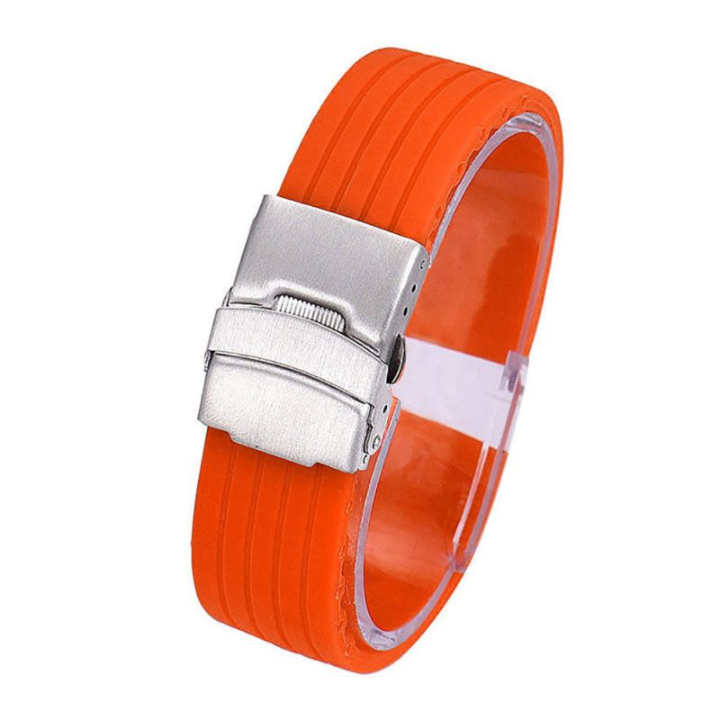 4 Color Watch Band Waterproof Silicone Rubber Watch Strap Deployment Buckle Watchbands 18~24mm набор бокалов для вина art decor positano 600 мл 6 предметов