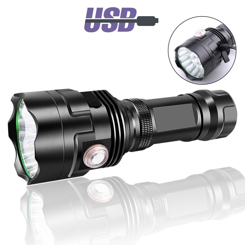 PANYUE Tactical Flashlight 3800LM-11800LM 6 Modes Powerful Flashlight 18650 26650 USB Rechargeable Flash light Torch
