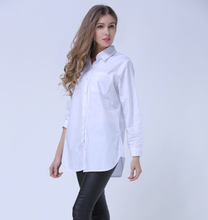 2016 New Spring Women Plus Size 4XL 5XL Cotton Pure White Shirt Office Ladies Professional Casual