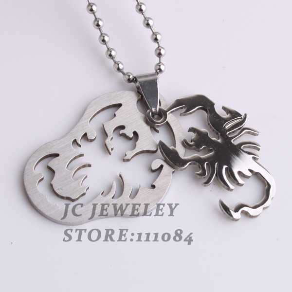 free shipping Irregular tags spider pendant necklaces bead chain men women 316L Stainless Steel necklace wholesale