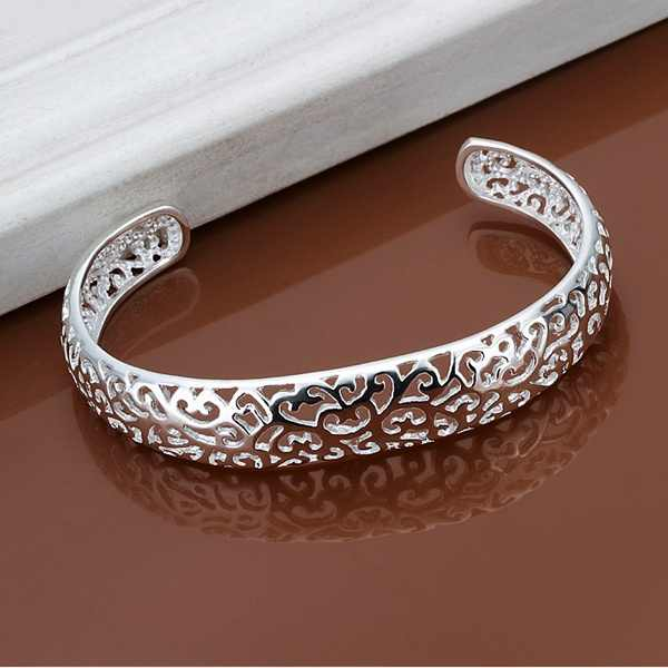 Silver color exquisite luxury gorgeous fashion open bangle bracelet hollow retro charm jewelry preferred birthday gift B144