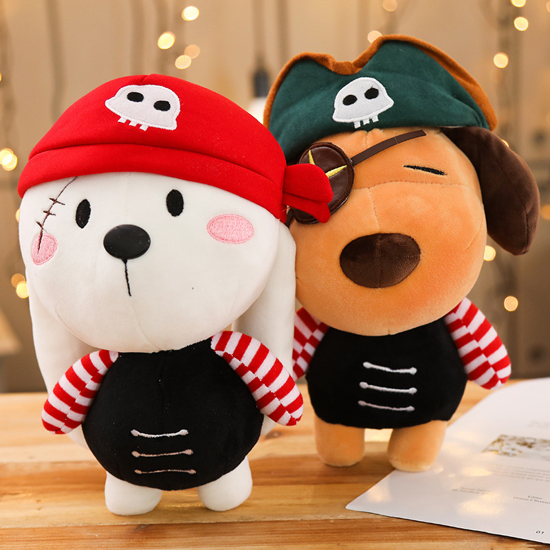 Candice guo plush toy stuffed doll cartoon animal Pirate sea rover dog rabbit bunny Seaman sailor bedtime story friend gift 1pc