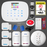 KERUI Russian English Language 433MHZ Wireless Home Alarm Two Wired Zone Intruder Alarm System with Smoke Detector Water Sensor